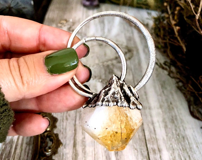 Large Raw Citrine Necklace Pendant / Big Crystal Necklace in Fine Silver