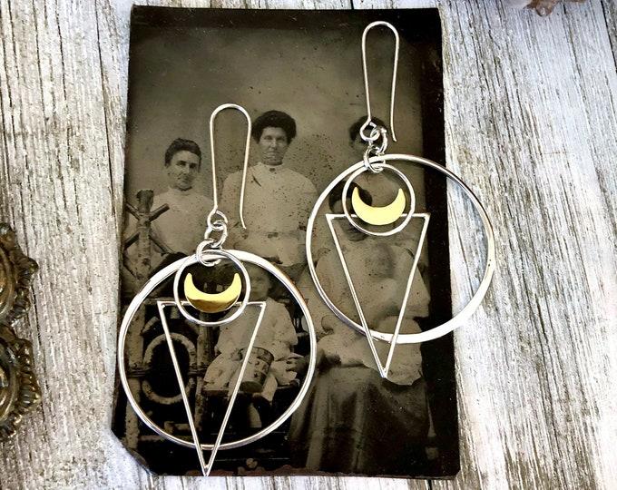 Sterling Silver Earrings - Long Dangly Geometric Triangle Moon Earrings with Silver Hoops