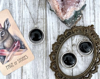 Silver Crystal Black Obsidian Necklace / Witchy Statement Necklace
