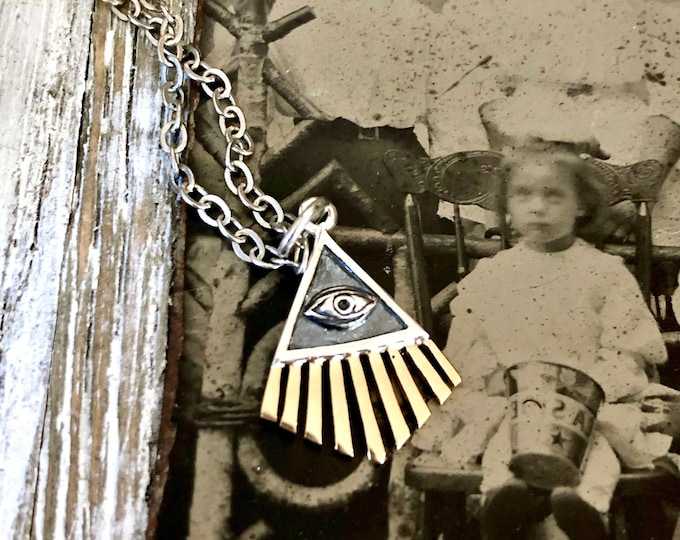 Tiny Talisman Collection - Sterling Silver All Seeing Eye Necklace Pendant with Bronze 18x14mm  / Curated  Collection