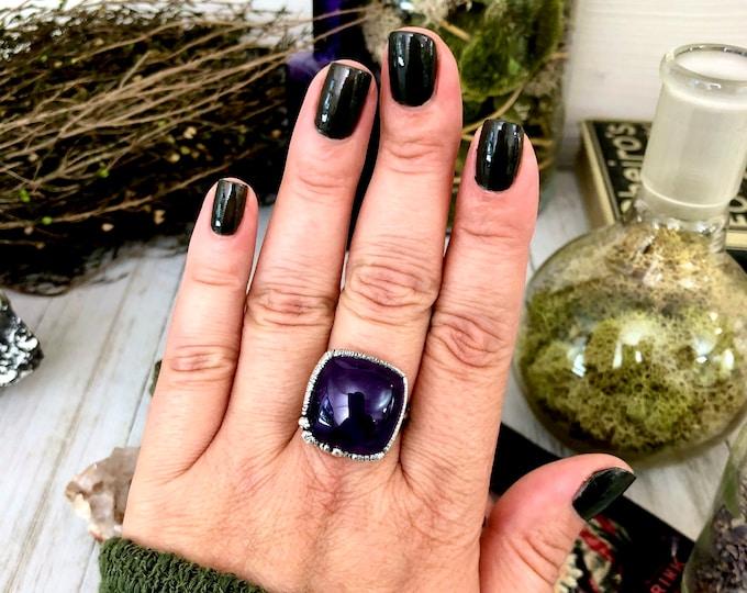 Amethyst Ring in Silver Size 10  / Crystal Ring Silver Amethyst Ring