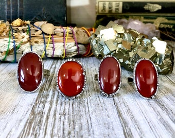 Red Carnelian Ring in Silver / Big Crystal Ring / Large Silver Crystal Ring