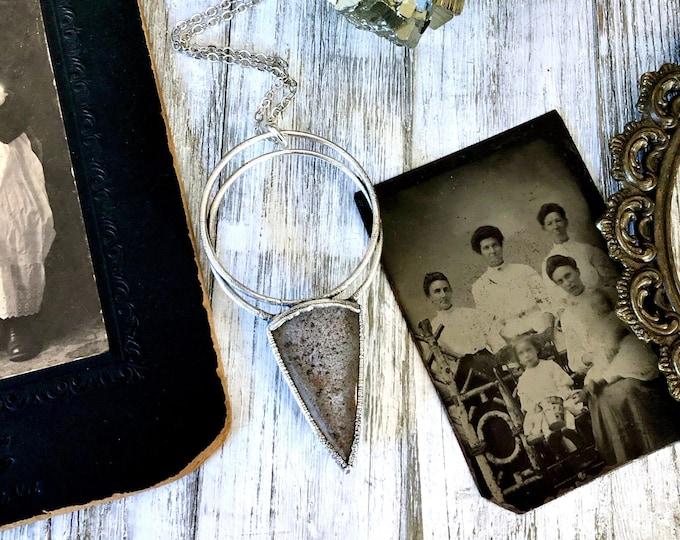 Large Garden Quartz Statement Necklace in Fine Silver