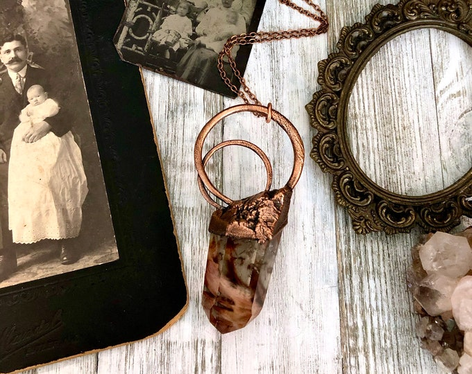 Big Amphibole Quartz Necklace / Raw Crystal Necklace / Big Crystal Jewelry