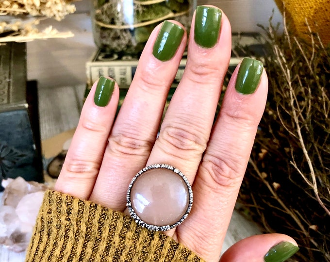 Size 9 Peach Moonstone Ring in Silver Big Crystal Ring / Foxlark Collection - One of a Kind