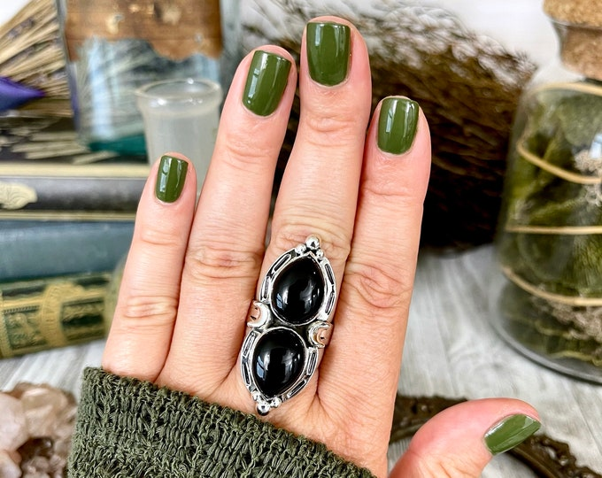 Mystic Moons Black Onyx Ring in Solid Sterling Silver- Designed by FOXLARK Collection Size 6 7 8 9 10