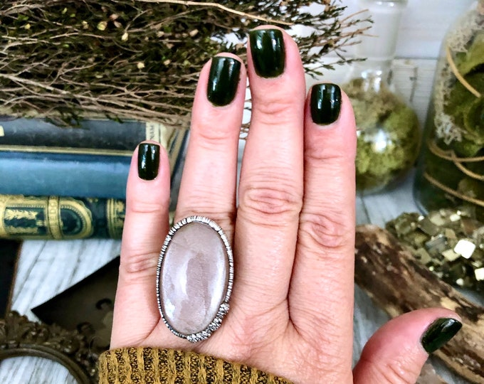 Size 8.5 Peach Moonstone Ring in Silver Big Crystal Ring