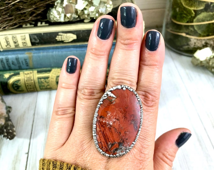 Red Jasper Ring Size 9.5 Big Stone Ring