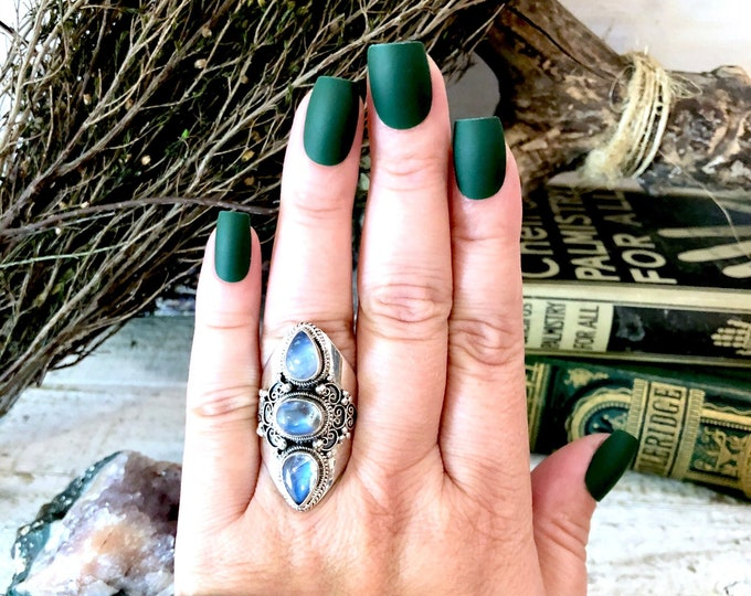 Stunning Triple Rainbow Moonstone Statement Ring Set in Sterling Silver / Curated by FOXLARK Collection Size 7 -8