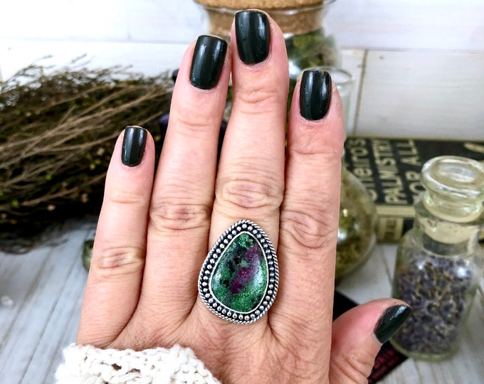 Ruby Zoisite Statement Ring in Sterling Silver / Curated by FOXLARK Collection SIZE 6 7 8 9 10