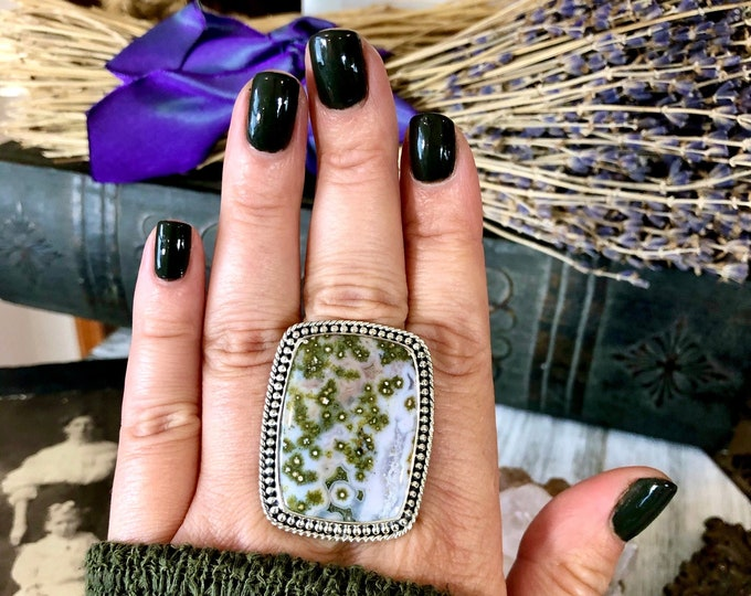 Size 9.5 Ocean Jasper Statement Ring Set in Sterling Silver  / Curated by FOXLARK Collection