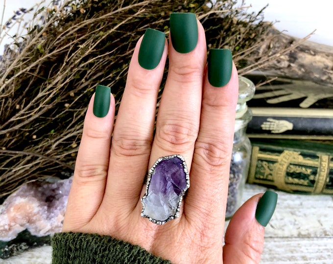 Raw Amethyst Ring in Silver Size 9 / Raw Crystal Ring Rough
