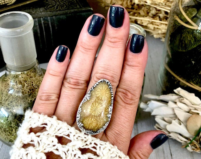 Size 9.5 Fossilized Coral Silver Statement Ring