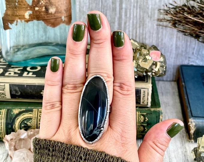 Size 9 Big Natural Spider Web Obsidian Statement Ring in Fine Silver / Large Black and Grey Crystal Ring / Bohemian Silver Stone Jewelry
