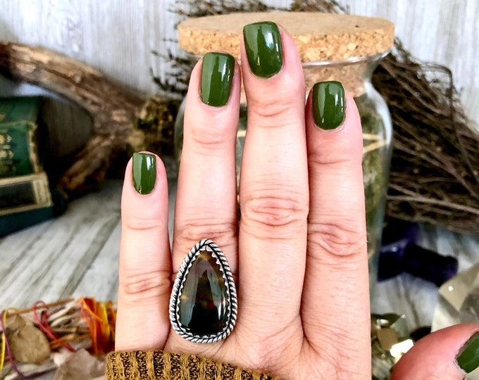 Size 9 Bloodstone Statement Ring Set in Sterling Silver / Curated by FOXLARK Collection