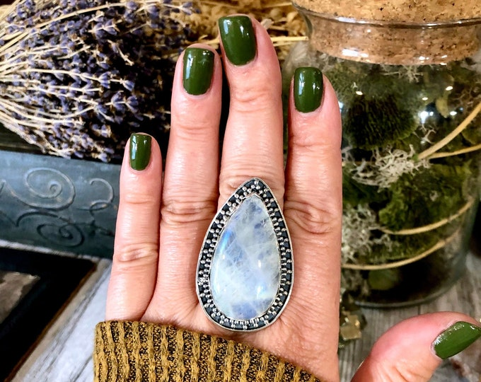 Size 10 Large Rainbow Moonstone Ring Set in Sterling Silver- Curated by FOXLARK Collection