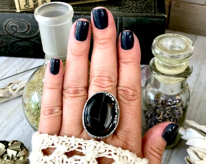 Black Banded Agate Ring in Silver Size 9.5