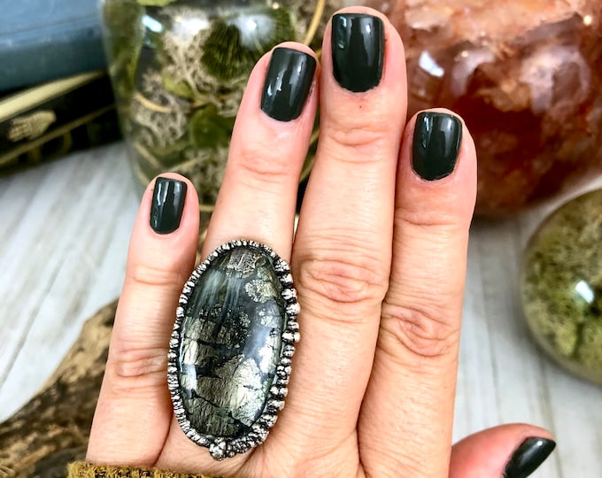 Big Crystal Statement Ring Size 6 1/4 / Moss Pyrite Ring in Silver / Dendritic Pyrite in Quartz Natural Stone Ring
