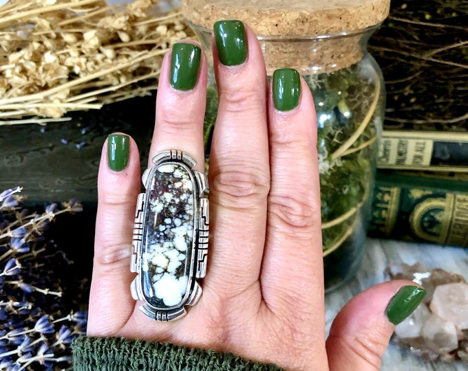 Size 8 Stunning Wild Horse Statement Ring Set in Thick Sterling Silver / Curated by FOXLARK Collection