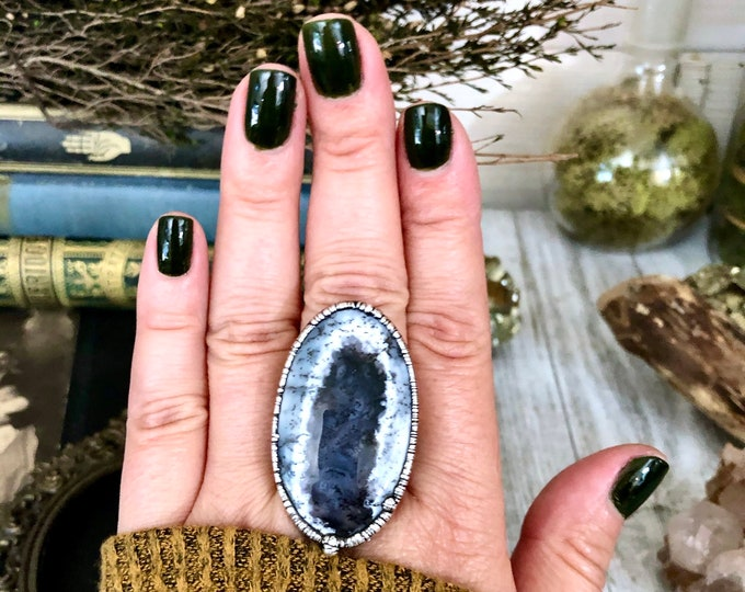 Size 9.5 Natural Moss Opal Ring in Fine Silver