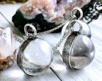 Large clear quartz crystal ball statement necklace
