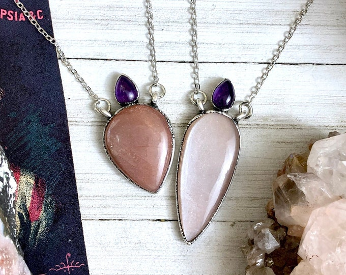 Peach Moonstone & Amethyst Crystal Necklace in Silver / Natural Gemstone Jewelry Big Statement Necklace for Woman / Gift for Her