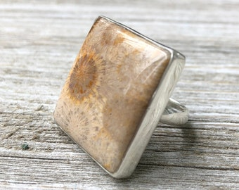 Size 8 Fossilized Coral Statement Ring Set in Sterling Silver / Curated by FOXLARK collection