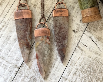 Large Crazy Lace Agate Necklace / Stone Statement Necklace