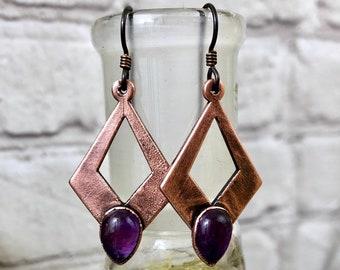 Crystal Earrings Copper Amethyst Earrings