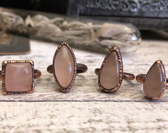 Rose Quartz Ring Pink Crystal Ring / Gypsy Jewelry Pink Stone Ring Copper Electroformed Ring / Stone Statement Ring Bohemian