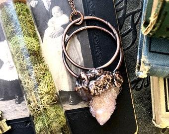Raw Crystal Necklace Raw Amethyst Necklace Spirit Quartz Copper Crystal Pendant