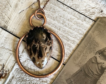 Crystal Necklace Petrified Wood Natural Stone Necklace Pendant