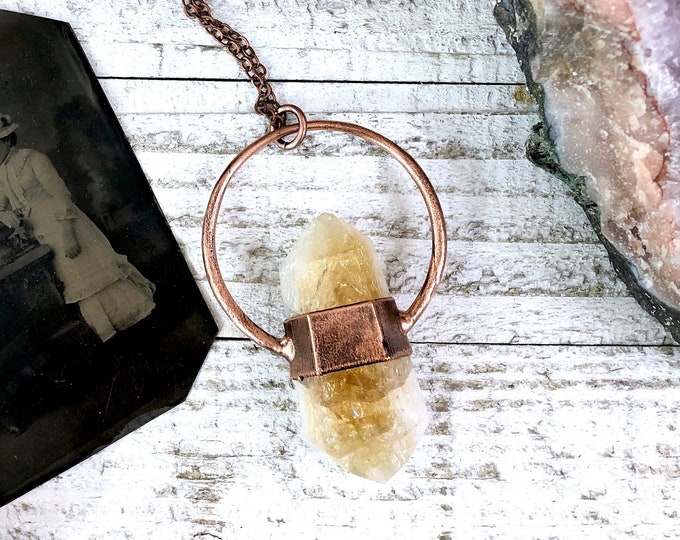 Large Boho Citrine Crystal Necklace