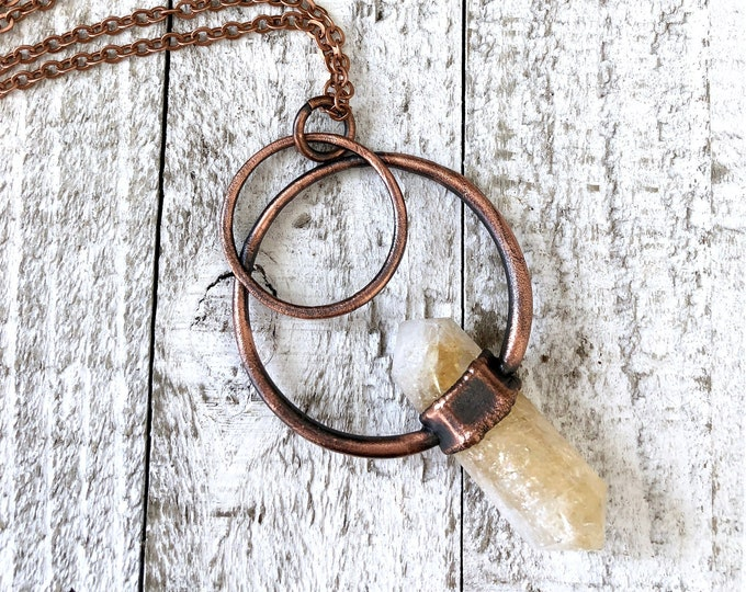Citrine Necklace / Bohemian Long Layering Crystal Necklace Statement Jewelry