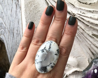 Size 10 Dendritic Opal Statement Ring Set in Sterling Silver / Curated by FOXLARK collection / Natural Stone Ring