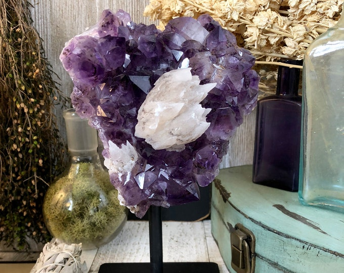 Large Amethyst and Calcite Cluster / Purple Crystal Cluster Standing Crystal / Amethyst with Stand Home Decor Gift for the Holidays
