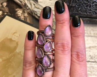 Amethyst Ring Size 5 6 7 8 9 Crystal Ring Tiny Stacking Ring / Small Crystal Ring