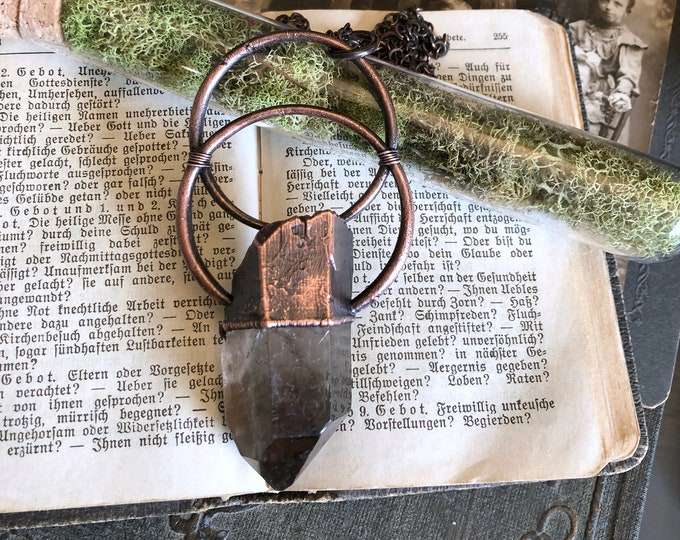Smoky Quartz Necklace Raw Crystal Jewelry / Blackened Copper Big Raw Crystal Necklace / Gothic Jewelry Large Crystal Statement Jewelry Stone