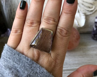 SALE- Size 9 Rutilated Quartz Statement Ring Set in Sterling Silver / Curated by FOXLARK collection