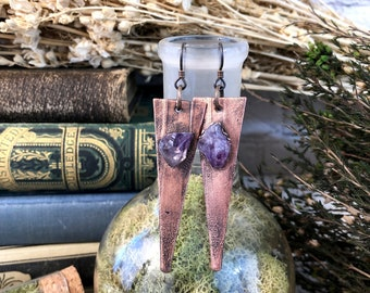 Raw Crystal Earrings Rough Amethyst Copper Drop Earrings
