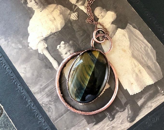 Blue Tigers Eye Pendant / Big Crystal Necklace Hawks Eye Jewelry