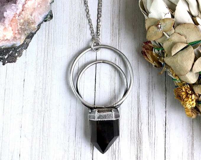 Smoky Quartz Crystal Necklace in Silver
