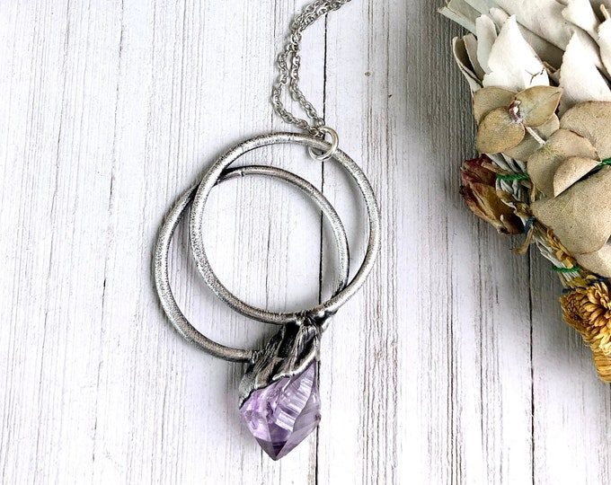 Large Raw Amethyst Crystal Necklace Pendant in Silver