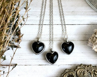 Dainty Obsidian Necklace Silver Crystal Heart Necklace Pendant