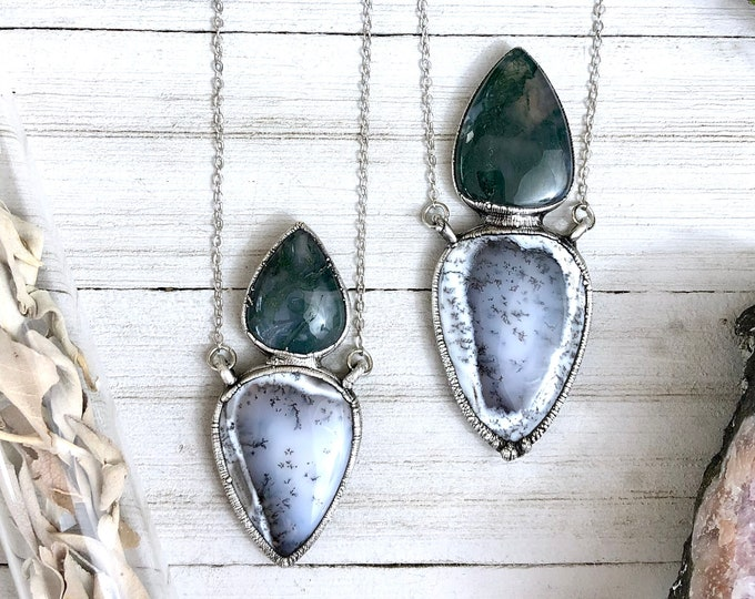 Dendritic Opal & Moss Agate Crystal Necklace in Silver