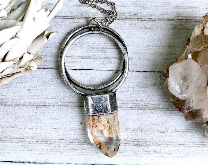 Large Garden Quartz Crystal Necklace Pendant in Silver