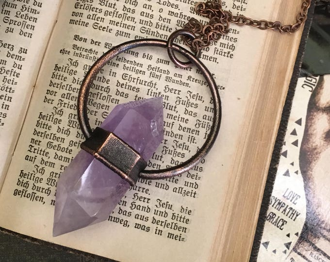 Amethyst Crystal Necklace Pendant / Large Crystal Jewelry / Gypsy Jewelry / Long Layering / Purple Bohemian Birthstone Witchy