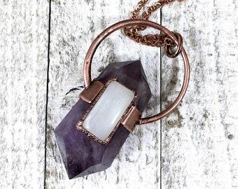 Amethyst Rainbow Moonstone Crystal Necklace