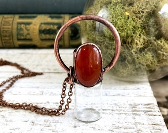 Red Carnelian Crystal Jewelry Rollerball Necklace Essential Oil Jewelry