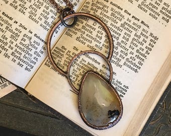 Large Moss Agate Necklace Crystal Pendant Gypsy Jewelry Dendritic Agate Statement Necklace Gothic Jewelry BohemianHealing Crystal Stone Gift